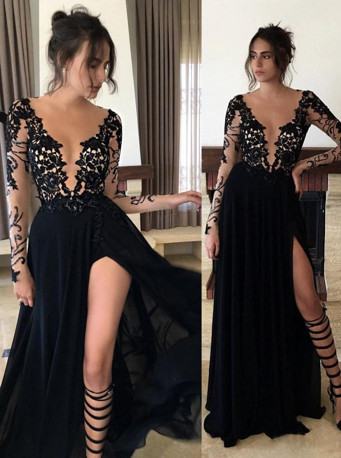 Lace Evening Dresses, Chiffon Evening Gowns, 2017 Black Prom Dresses ...