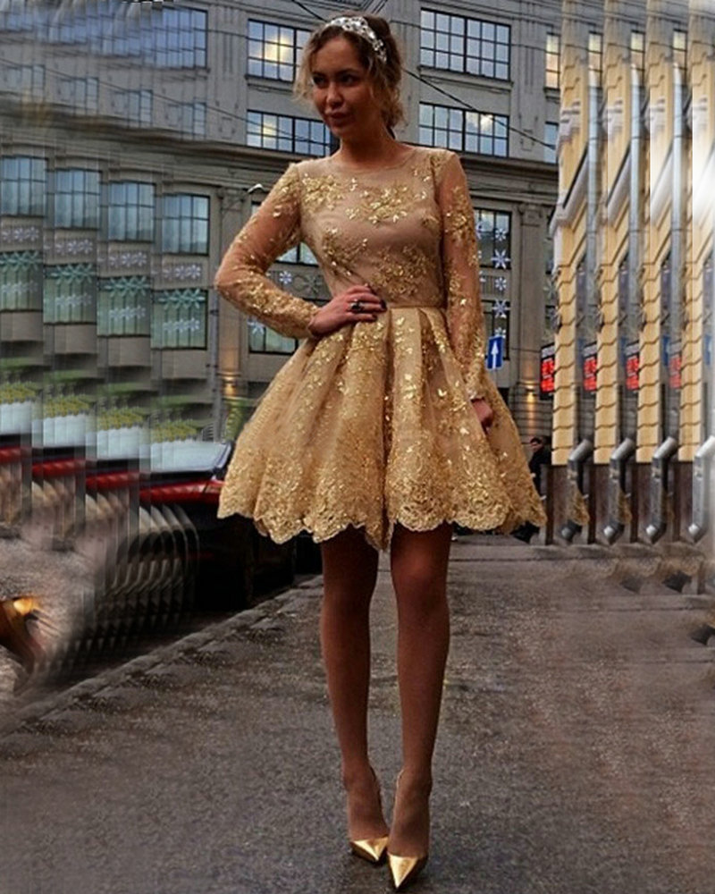 a5068e4d039 Gold Sequins Appliques Lace Short Prom Dresses