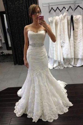 Lace Appliqués Sweetheart Floor Length Ruffled Mermaid Wedding Dress Featuring Beaded Embellished Belt
