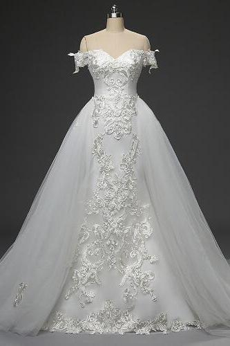 Off-the-shoulder Mermaid Wedding Dress Featuring Embroidery and Detachable Train