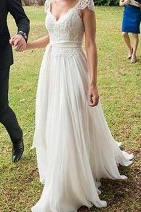 Cap Sleeves Wedding Dresses, Lace White Wedding Dress, Long Custom Wedding Gowns, Cheap Wedding dress, Best Bridal Gowns, Party Dress