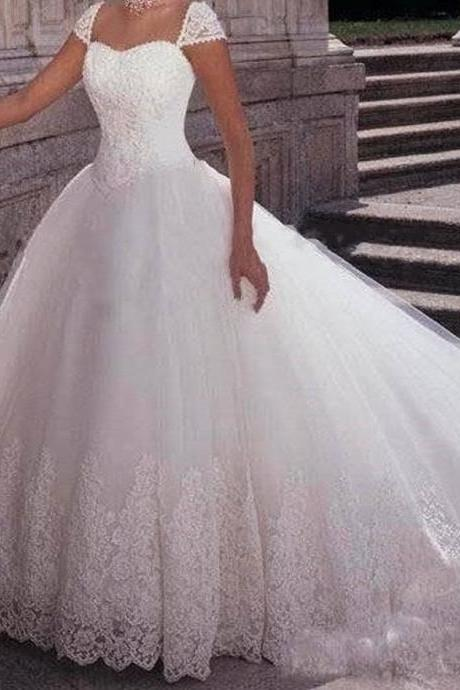 Lace Appliqués Sweetheart Cap Sleeves Floor Length Tulle Wedding Gown Featuring Train