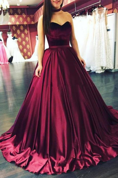 New arrival sweetheart strapless A-line prom dress,women ball gowns,sweet 16 prom dress