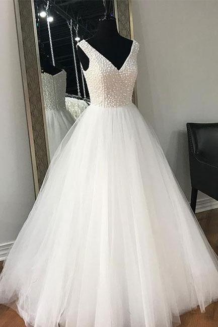 White V-Neck A-Line Prom Dress,Beaded Tulle Evening Dress,Elegant Wedding Dress