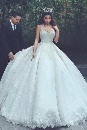 Charming Tulle Ball Gown Wedding Dress, Appliques Lace Appliques Wedding Gown Bridal Dress,
