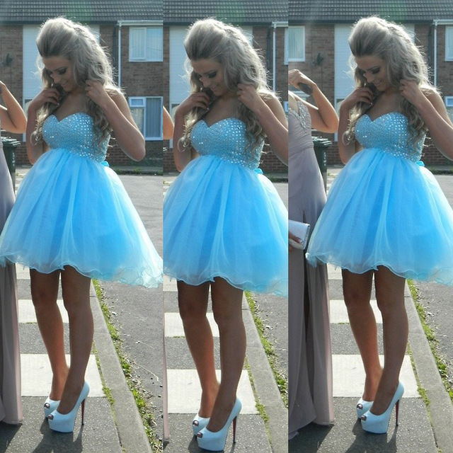 New Arrival Sprkly Blue Corset Homecoming Dresses Off-Shoulder Tulle Plus  Size 8th Grade Graduation Dresses